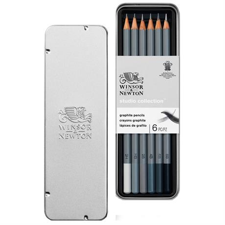 Winsor & Newton Graphite Pencil Tin Of 6 Image 1