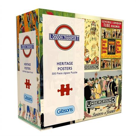 TFL Heritage Posters 500 Piece Gift Jigsaw Puzzle Image 1