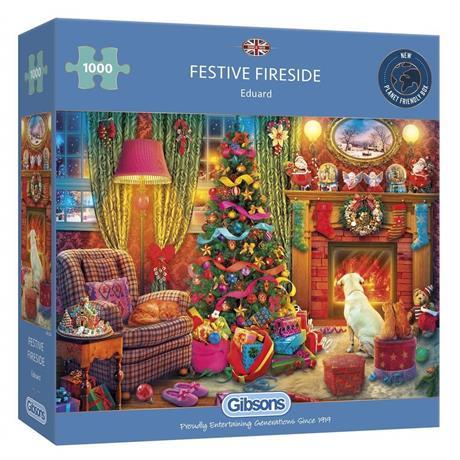 Festive Fireside 1000 Piece Jigsaw Puzzle Image 1