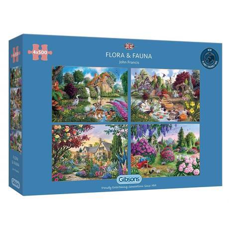 Flora & Fauna 4 x 500 Piece Jigsaw Puzzle Image 1
