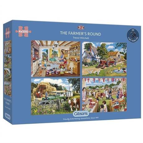 The Farmer's Round 4 x 500 Piece Jigsaw Puzzle Image 1