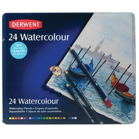 Derwent Watercolour Pencils Tin of 24 Image 1