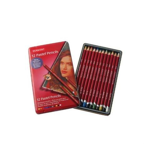 Derwent Pastel Pencils Tin of 12 Image 1
