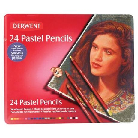 Derwent Pastel Pencils Tin of 24 Image 1
