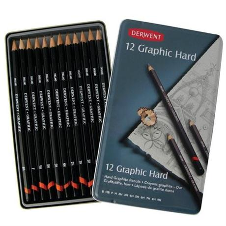 Derwent Graphic Pencils Hard (Technical) Tin of 12 Image 1