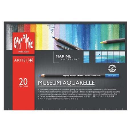 Caran d'Ache Museum Aquarelle Pencils - 20 Marine Assortment Set Image 1