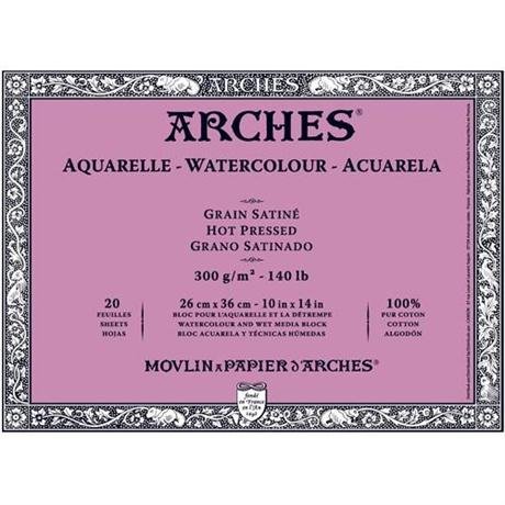 Arches Aquarelle Water Colour Blocks Hot Pressed 140lbs / 300gsm  Image 1