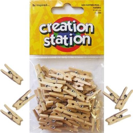 Mini Clothes Pegs Natural Wood Image 1