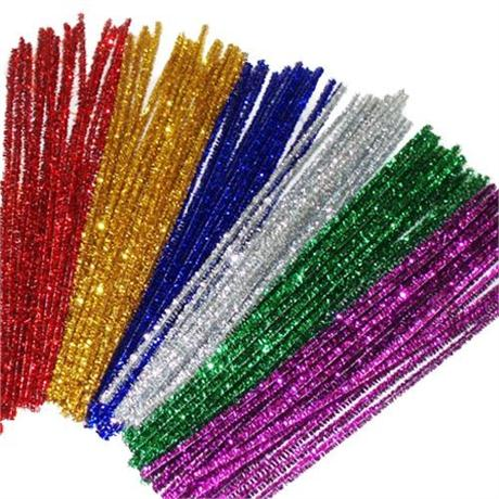 Pack of Tinsel Pipe Cleaners 300mm Long Image 1