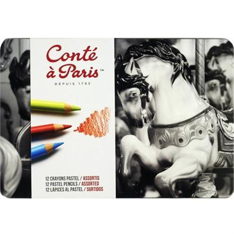 Conte Pastel Pencils Tin Of 12 Image 1