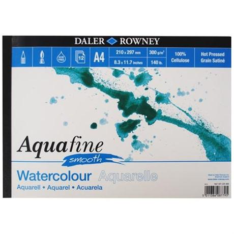 Daler Rowney Aquafine Watercolour Pad Hot Pressed 300gsm Image 1