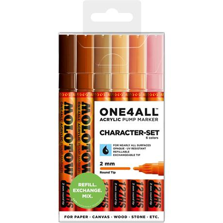 Molotow ONE4ALL 127HS Paint Pen Character Set - 6 x 2mm Round Nib Pens Image 1