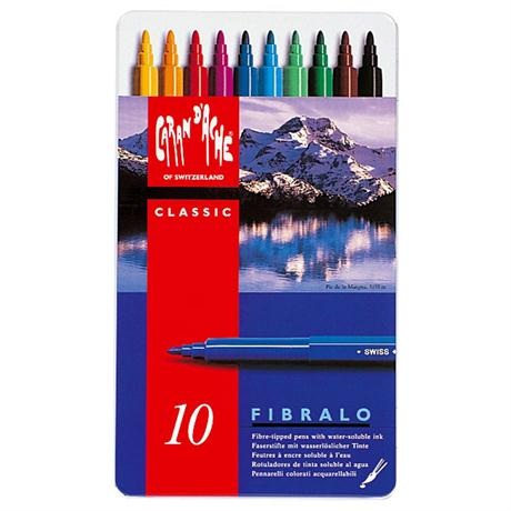 Caran D'ache Fibralo Watersoluble Pens - Tin Of 10 Image 1