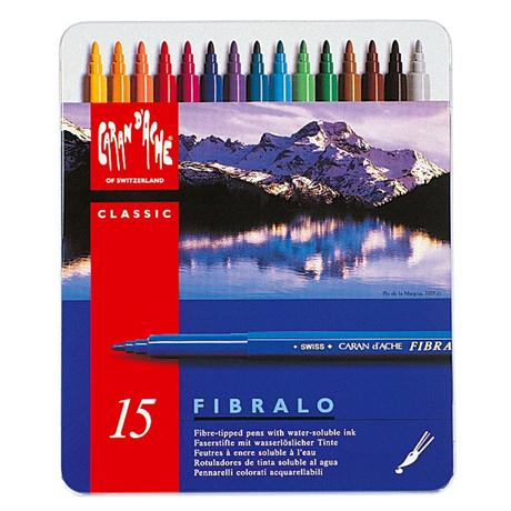Caran D'ache Fibralo Watersoluble Pens - Tin Of 15 Image 1
