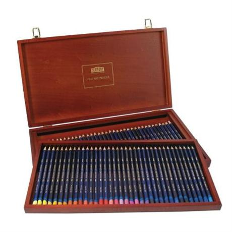 Derwent Inktense Pencils Wooden Box of 72 Image 1