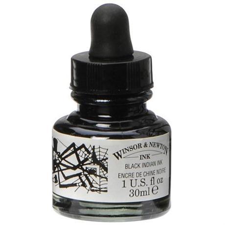 Winsor & Newton Drawing Ink 30ml Dropper Black (Indian Ink) Image 1