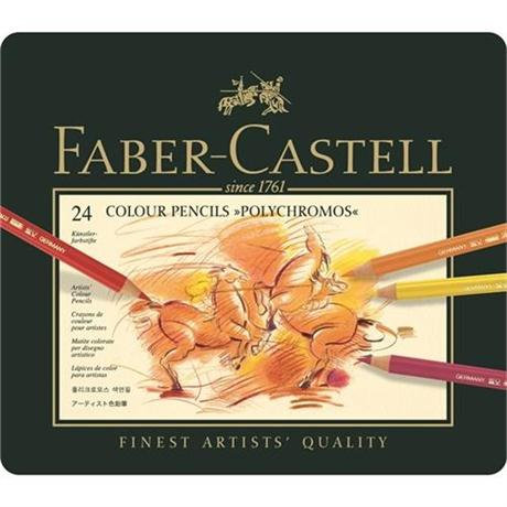 Faber Castell Polychromos Pencils Tin of 24 Image 1