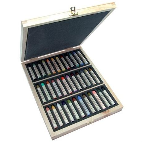 Sennelier Oil Pastels Wooden Box of 36 Assorted Colours Image 1