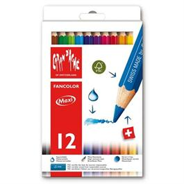 Caran D'ache Fancolor Box of 12 Water Soluble Maxi Colour Pencils thumbnail