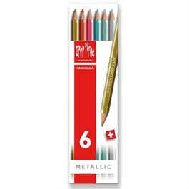 Caran d'Ache Fancolor Box of 6 Water Soluble Metallic Colour Pencils thumbnail