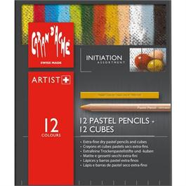 Caran d'Ache Initiation Set - 12 Pastel Pencils & 12 Pastel Cubes Thumbnail Image 1