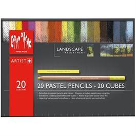 Caran d'Ache Landscape Set - 20 Pastel Pencils & 20 Pastel Cubes Thumbnail Image 1