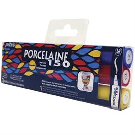 Pebeo Porcelaine 150 Marker Set Of 3 Primary Colours Bullet Tip Thumbnail Image 0
