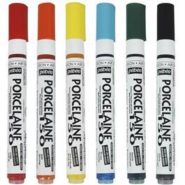 Pebeo Porcelaine 150 Marker Set Of 6 Pop Colours Fine Tip Thumbnail Image 1