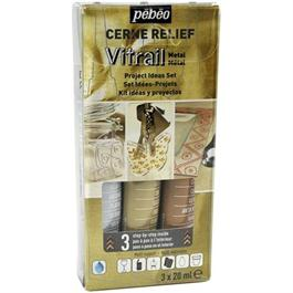 Pebeo Cerne Relief Metal Set 3 x 20ml thumbnail