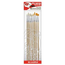 Pebeo Set of 8 Yellow Polyamide & White Bristle Brushes thumbnail