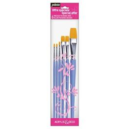 Pebeo Brush Set of 6 Flat short handled brushes thumbnail