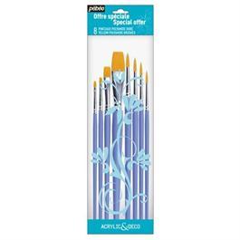 Pebeo Acrylic & Deco Brushes Set of 8 Round & Flat thumbnail