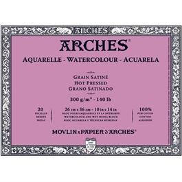 Block 26x36cm Arches Aquarelle 300g Hot Pressed thumbnail