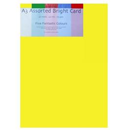 A3 Assorted Bright Colours Card Pack 175gsm thumbnail