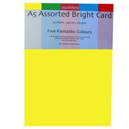A5 Assorted Bright Colours Card Pack 175gsm thumbnail