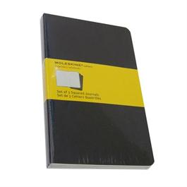 Moleskine Squared Cahier Large - Black (Set of 3) Journal Notebook thumbnail