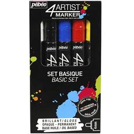 Pebeo 4ARTIST MARKER Set Of 5 Assorted Basic 4mm Pens Thumbnail Image 0