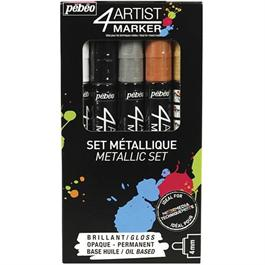 Pebeo 4ARTIST MARKER Set Of 5 Assorted Metallic 4mm Pens Thumbnail Image 0