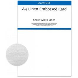 A4 Linen Embossed Card Pack White 300gsm thumbnail