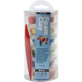 Foam Clay 14g x 6 Metallic Assortment - Bright Colours