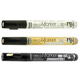 Pebeo Acrylic Marker Set Black, White & Gold 1.2mm Thumbnail Image 1