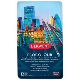 Derwent Procolour Pencils Tin Of 12 Thumbnail Image 1