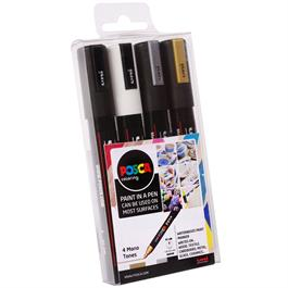 POSCA PC-5M Mono Tones Pack Of 4 Pens Thumbnail Image 1