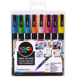 POSCA PC-3M Sparkling Set Of 8 Pens thumbnail