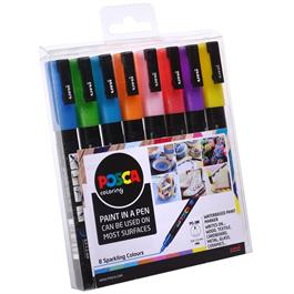 POSCA PC-3M Sparkling Set Of 8 Pens Thumbnail Image 1