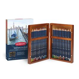 Derwent Watercolour Pencils Wooden Box of 24 Thumbnail Image 0