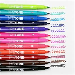Tombow TwinTone Marker Set Of 12 Bright Colours Thumbnail Image 4