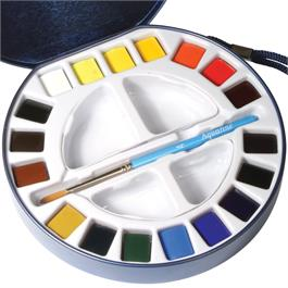 Daler Rowney Aquafine Travel Set With 18 Half Pans Thumbnail Image 1