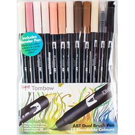 Tombow Dual Brush Pen Set Of 12 Skin Tones Thumbnail Image 0