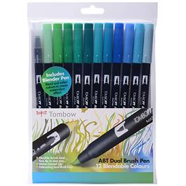 Tombow Dual Brush Pen Set Of 12 Ocean Colours thumbnail